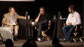 Judd Apatow and Seth Rogen, with David Denby