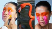 3 Makeup Artists Turn a Model Into a Flamingo