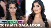 Getting Kim Kardashian West's Look in 1 Minute, 30 Minutes, and 3 Hours | Beauty Over Time