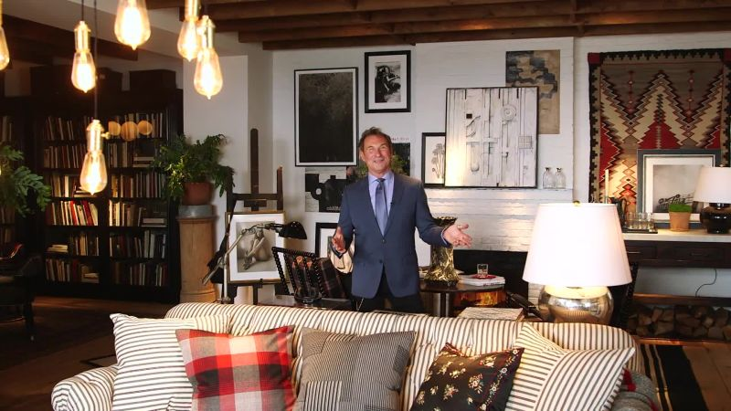 watch take a peek at ralph lauren home s new west village. Black Bedroom Furniture Sets. Home Design Ideas