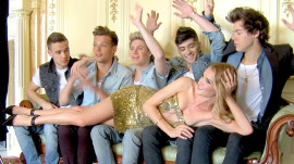 Go Behind the Scenes of One Direction's Photo Shoot with Rosie Huntington-Whiteley for Glamour's August Cover