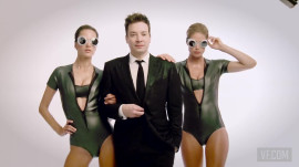 Jimmy Fallon Hits the Streets with Bikini-Clad Supermodels