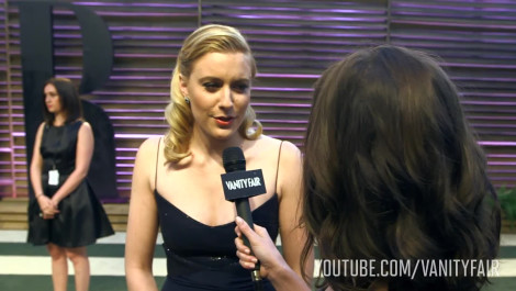Greta Gerwig at the 2014 V.F. Academy Awards Party
