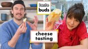 Elizabeth Olsen & Brad Try 10 Different Cheeses