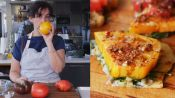 Carla Makes Falafel-Spiced Tomatoes and Chickpeas on Flatbread