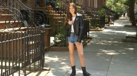 Denim Cutoffs and a Leather Jacket Create the Perfect Weekend Look