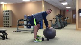 Dumbbell Bent-Over One-Arm Rows On A Physio Ball