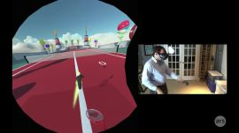 HTC Vive game demo: Menus, Chat and Selfie Tennis