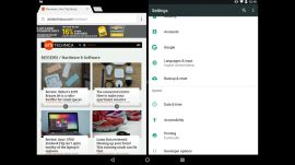 Multitasking in Android 7.0 Nougat on a Nexus 9 tablet
