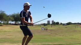 A soccer-inspired golf trick shot you'll have to see to believe