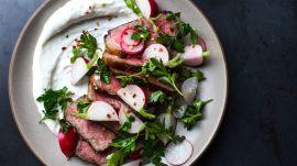 Strip Steak with Lemony Yogurt and Fresh Radishes