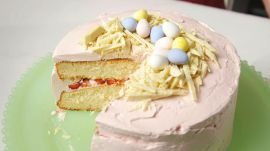 Strawberry Malted Easter Nest Cake
