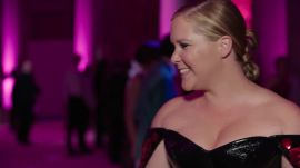 Amy Schumer on Her Black Leather Zac Posen Dress