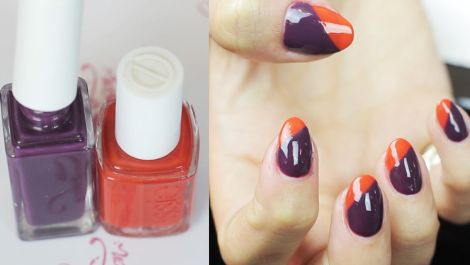Burnt Orange and Purple Nails for Fall