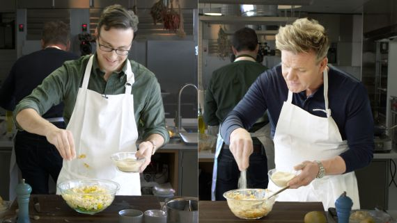 Gordon Ramsay Challenges Amateur Cook to Keep Up with Him