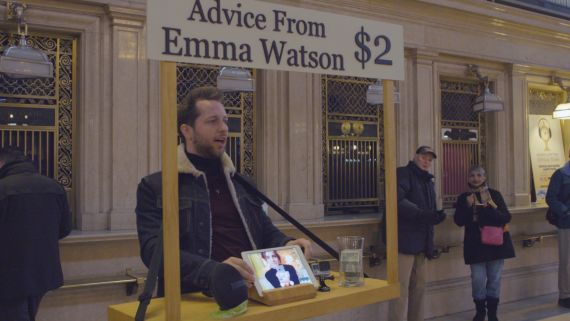 Emma Watson Gives Strangers Advice for $2 at Grand Central