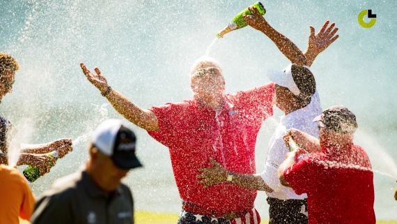 John Daly celebrates his first senior win in style