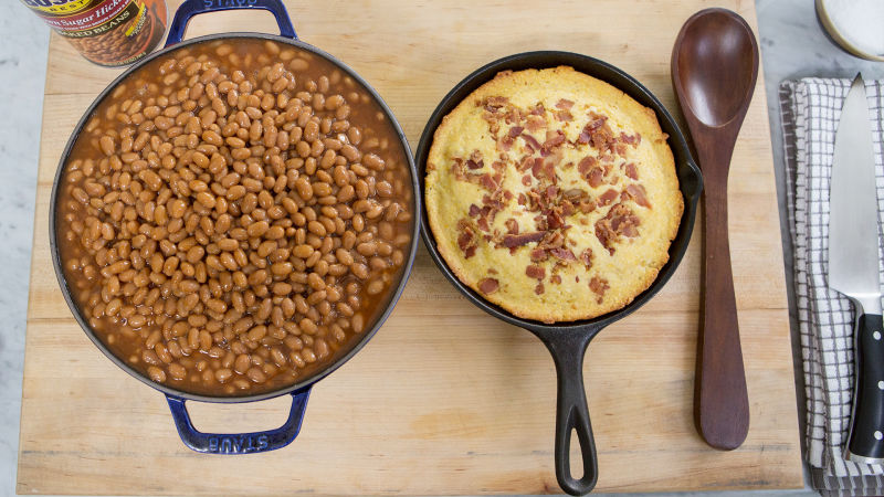 Watch Kitchen Lab | Bacon Crusted Cornbread + Baked Beans | Bon ...
