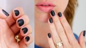 Matte Black French Manicure