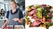 Molly Makes Hanger Steak with Charred Scallion Sauce