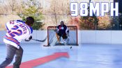 Can an Average Guy Stop a Hockey Pro's 98MPH Slap Shot?