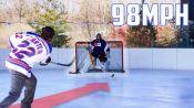 Can an Average Guy Stop a Hockey Pro's 98MPH Slap Shot?