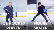 Figure Skaters Try to Keep Up With Hockey Players