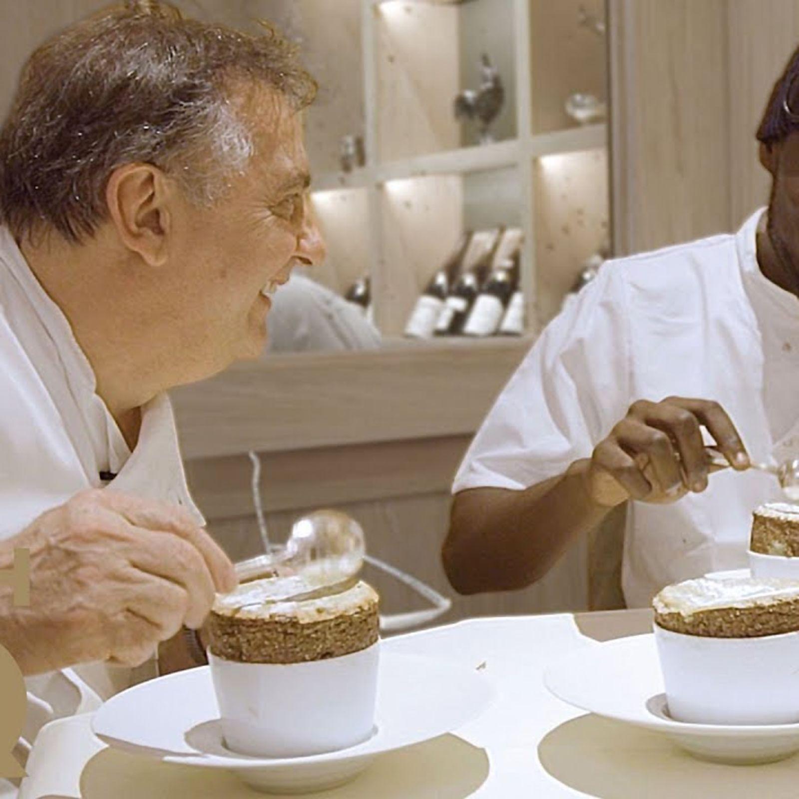 Stormzy and Raymond Blanc make pistachio soufflé