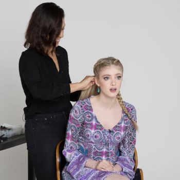 Elena Kampouris Gets Quizzed on the Kardashians While Getting a Kardashian Makeover