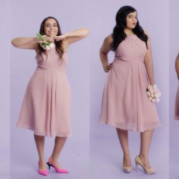 Women Sizes 0 Through 28 Try on the Same Bridesmaid Dress