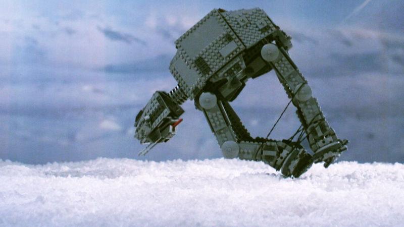 Star Wars Lego AT-AT Takes an Epic Fall at Hoth