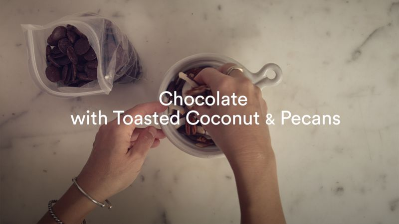 Plane Food: Chocolate with Toasted Coconut and Pecans