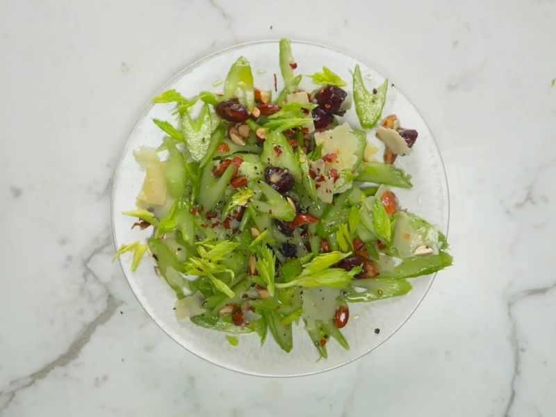 Celery Salad with Dates, Almonds, And Parmesan