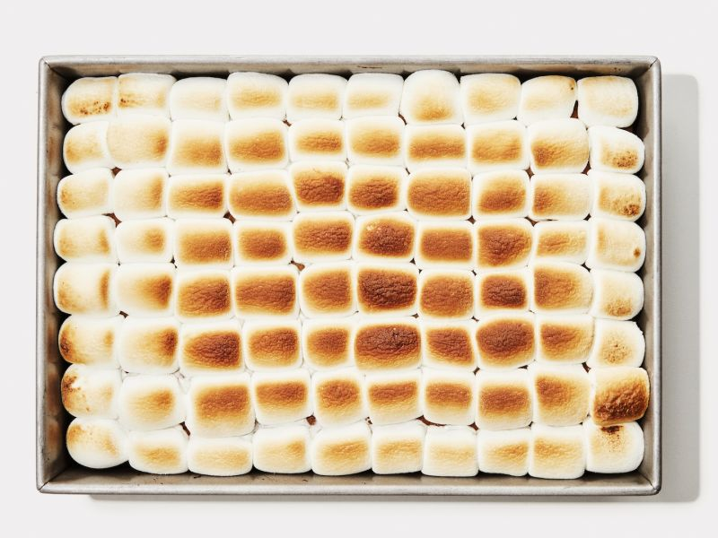 Pumpkin Sheet Cake with Toasted Marshmallow