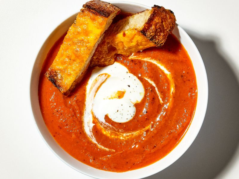Creamy Tomato Soup with Cheesy Fry Bread