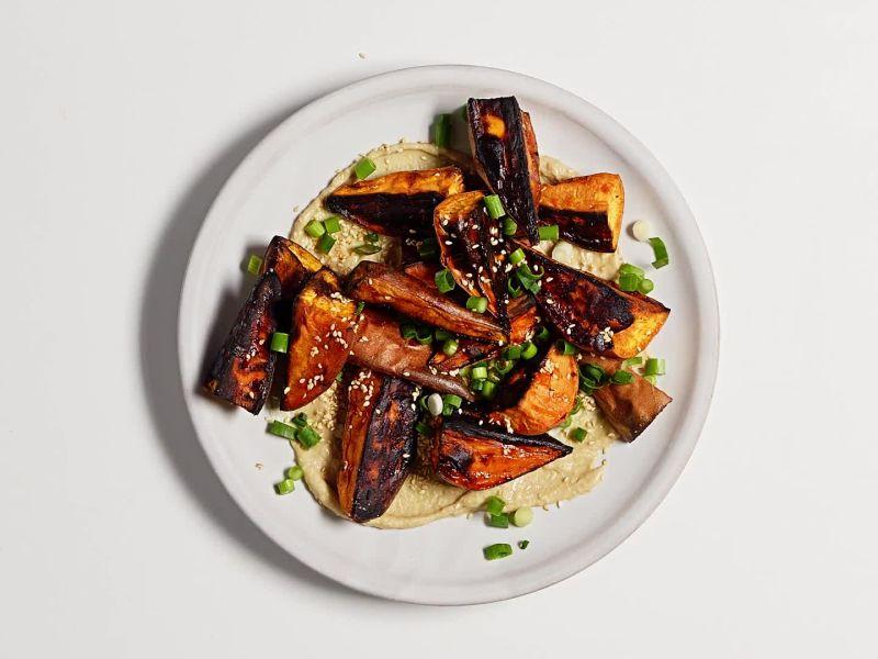 Roasted Sweet Potatoes with Miso-Tahini Sauce