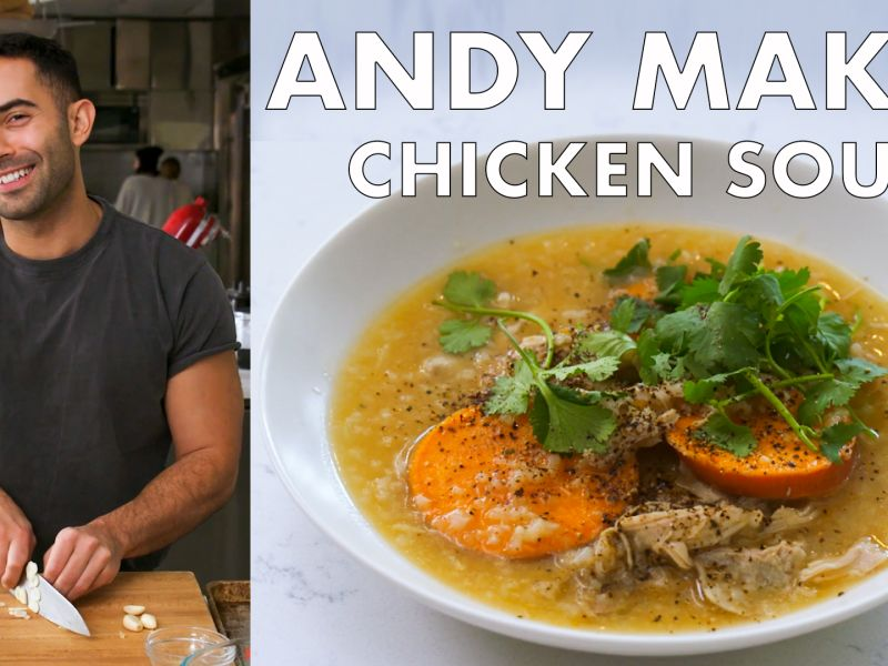 Andy Makes Chicken Soup with Sweet Potatoes