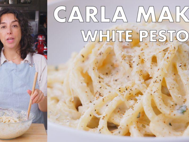 Carla Makes White Pesto Pasta