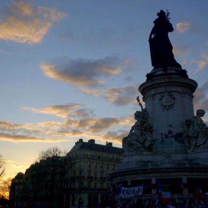 Sunset at Place de La Republique, Paris