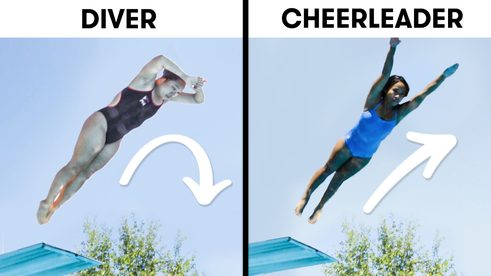 Cheerleaders Try To Keep Up With Synchronized Divers