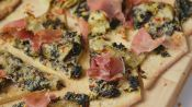Artichoke-Spinach and Prosciutto Flatbreads with Spicy Honey