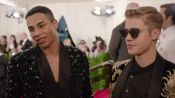 Justin Bieber and Olivier Rousteing at the Met Gala 2015