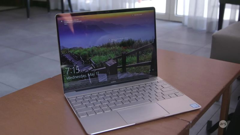 huawei laptop matebook x. huawei goes after apple\u0027s macbook with new thin-and-light matebook x | ars technica laptop e