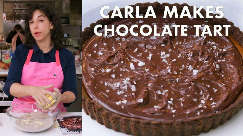 Watch From The Test Kitchen Carla Makes A Salted Caramel Chocolate Tart Bon Appetit Video Cne Bonappetit Com Bon Appetit