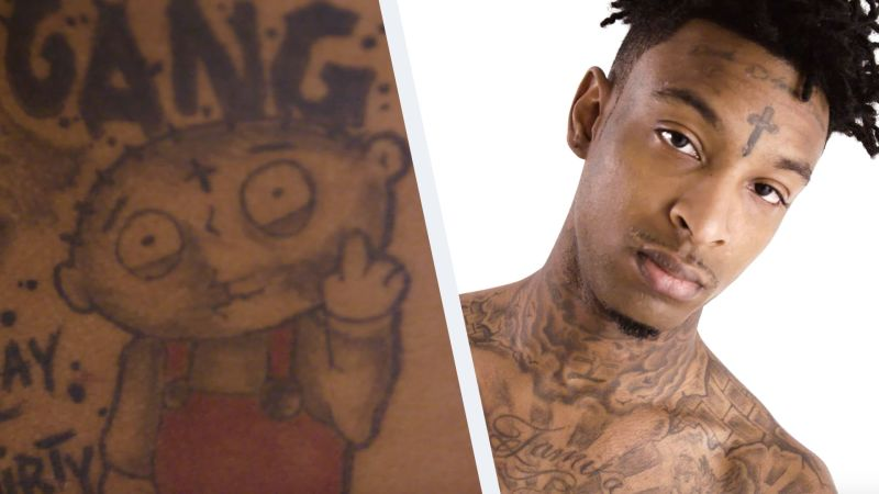 d3241e42ad224 Watch Tattoo Tour | 21 Savage on His Extremely Painful Head Tattoos | GQ  Video | CNE