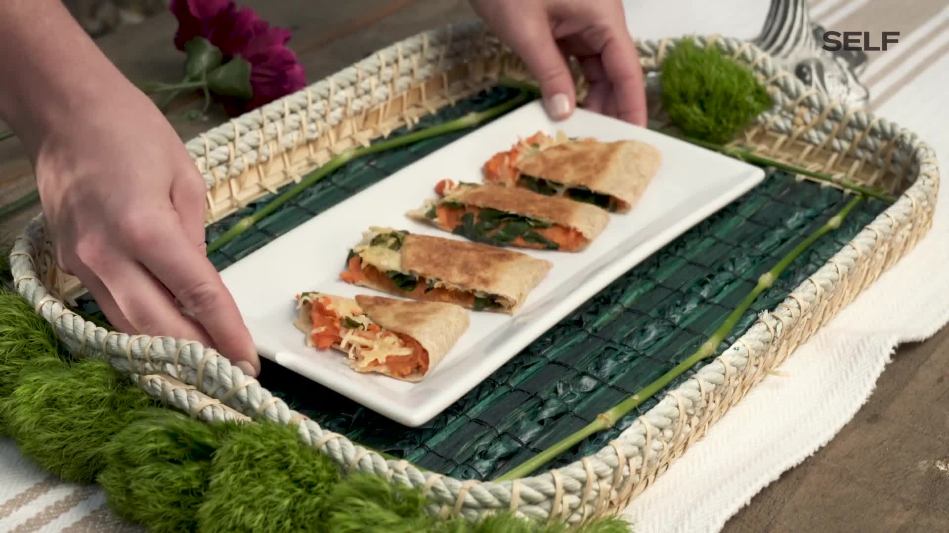 watch kale and sweet potato parmesan quesadilla  self