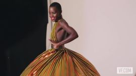 Lupita Nyong'o Draped in Balloons and Feathers for Vanities Opener