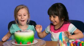 Skyla and Alyssa Describe Their Glittery Dream Cake