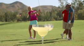 Nailing a Trick Shot Into a Giant Margarita Glass