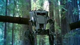 Star Wars Lego AT-ST Walker Gets Obliterated by Swinging Logs